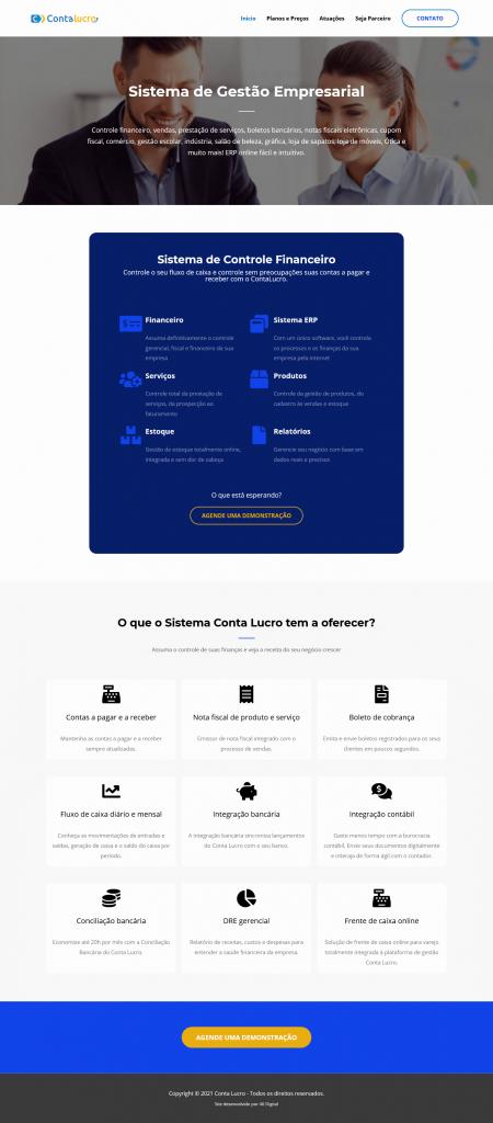 Layout site sistema de Gestão empresarial