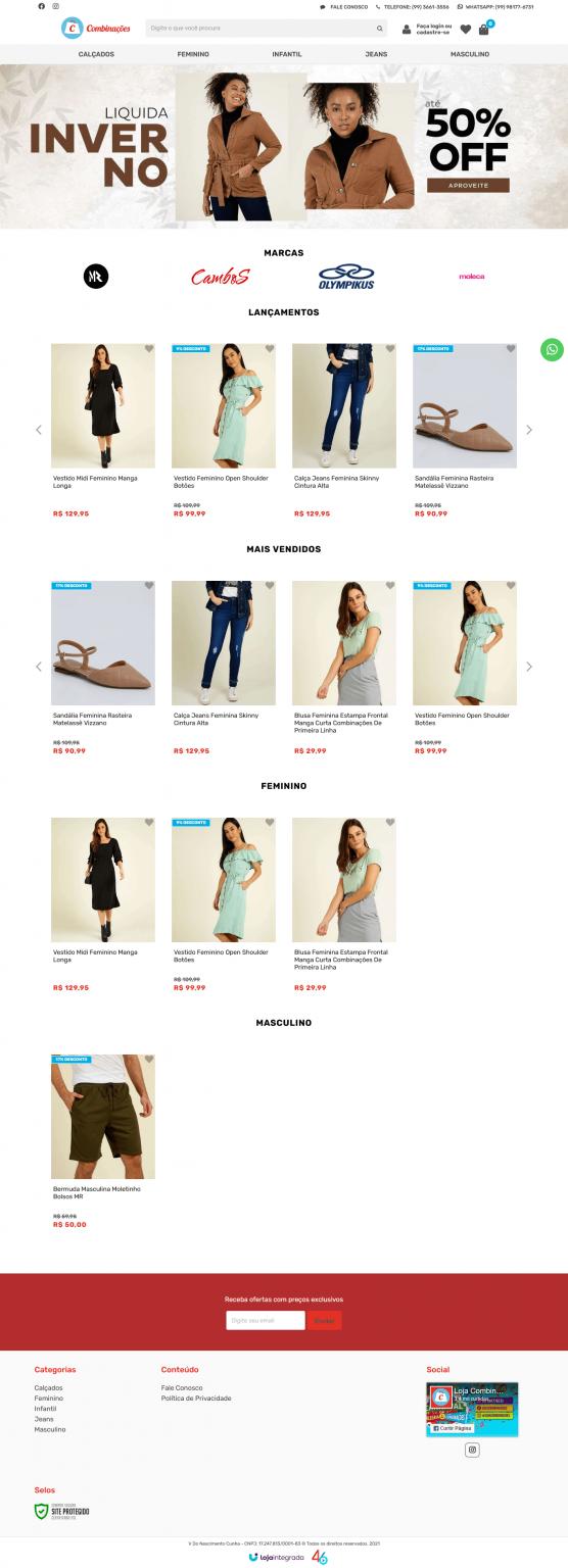 Layout Loja virtual empresa de moda e acessórios